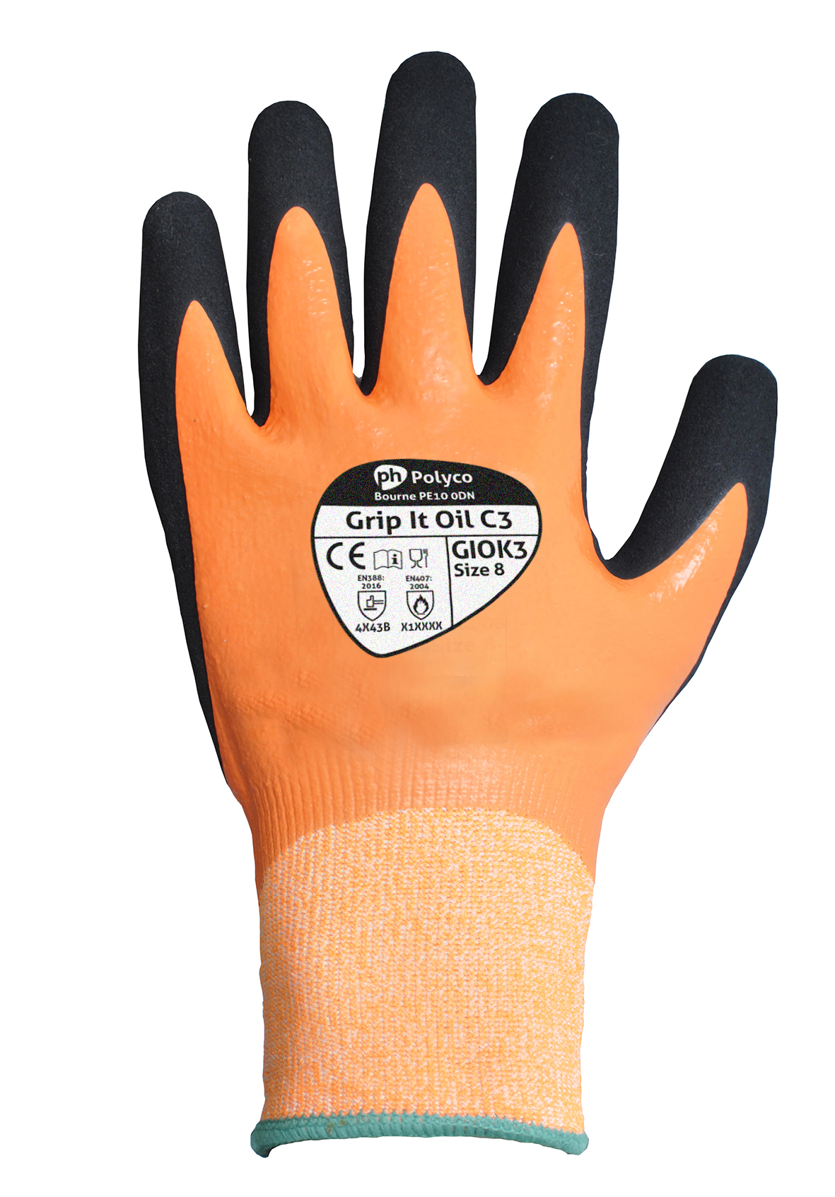 Polyco Grip It Oil C5 GIOK//07 cut resistant gloves dual nitrile size 7 x 2 pair